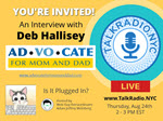 Ad inviting people to listen to talkradio nyc interview with blogger Deb Hallisey