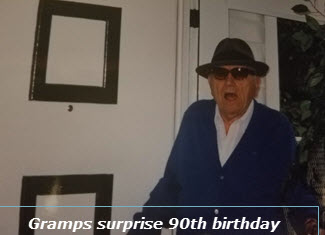 Authors 90 year old grandfather at his surprise birthday party