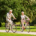Seniors keeping fit bike riding